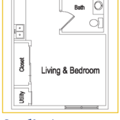 Deer Creek studio apartment floor plan