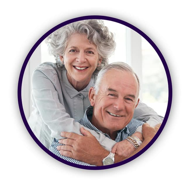 Senior couple enjoys the wellness center at Residences at Deer Creek in Schererville, Indiana