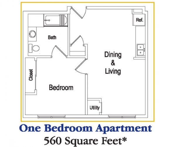 Residences at Deer Creek One Bedroom Apartment Floor Plan