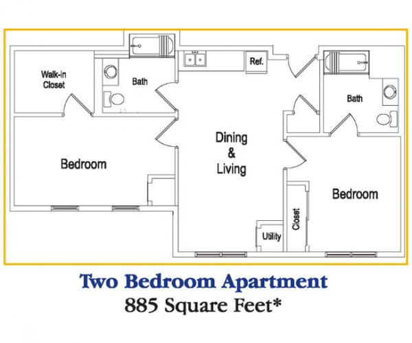 Residences at Deer Creek Two Bedroom Apartment Floor Plan