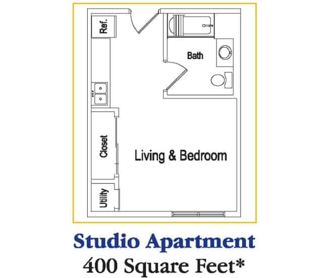 Residences at Deer Creek Studio Apartment Floor Plan ...