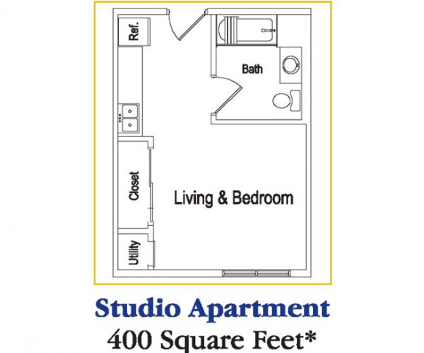 Residences at Deer Creek Studio Apartment Floor Plan - Memory Care